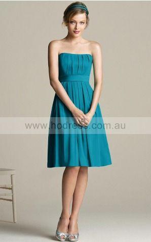 Chiffon Strapless Empire A-line Knee-length Bridesmaid Dresses 0740128--Hodress