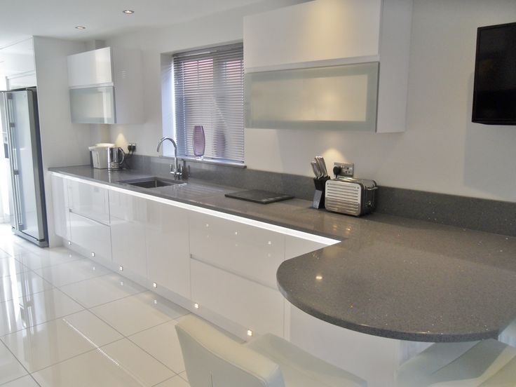 White Gloss Kitchen Units Granite Worktop Google Search
