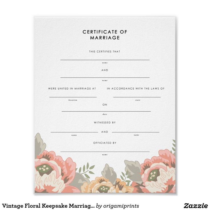 Vintage Floral Keepsake Marriage Certificate Poster
