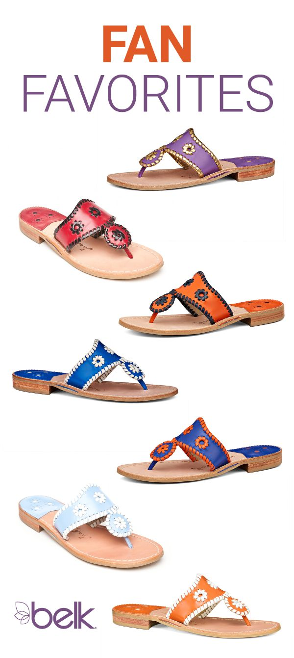 Jack Rogers Spirit Sandals put the finishing touch on your gameday look. Be the best-dressed from head-to-toe at every fall tailgate party with your favorite sandals in team colors. There's a pair for every sports fan, so get yours now in stores or at belk.com, just in time for the season opener!