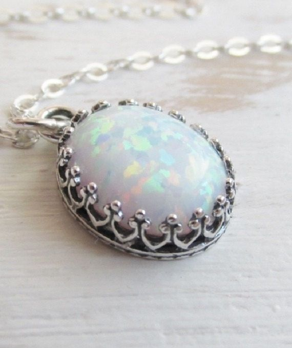 Opal Necklace, White Opal Pendant Necklace, Sterling Silver Pendant, Oval Opal Necklace, Opal Jewelry, October Birthstone Jewelry on Etsy, $42.00