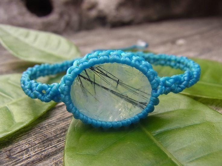 How to make a macrame bracelet Wrapped black rutilated quartz stone pendant