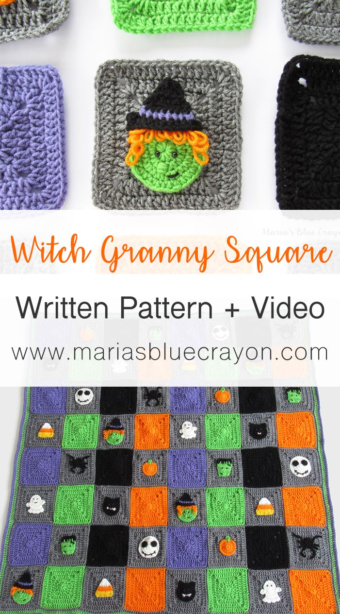 Halloween Witch Granny Square Crochet Pattern Marias Blue Crayon