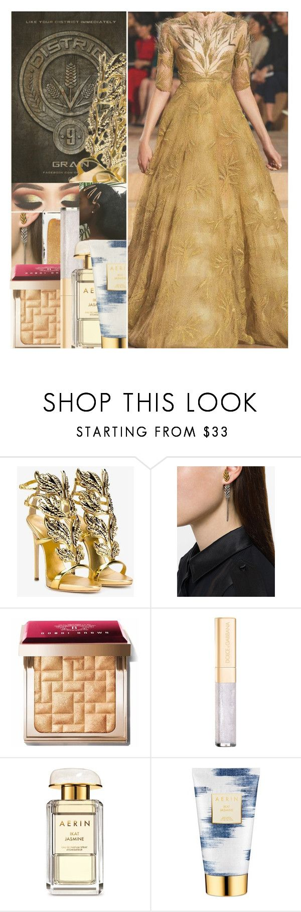 """""""HUNGER GAMES : DISTRICT 9"""" by w-on-der-lan-d ❤ liked on Polyvore featuring Giuseppe Zanotti, Yves Saint Laurent, Estée Lauder, Bobbi Brown Cosmetics, Dolce&Gabbana, AERIN, Hungergames and District9"""