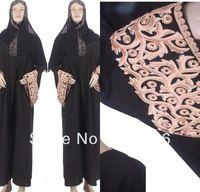 Nouvelle arrivée en mousseline De soie noir col haut broderie à manches longues Abaya Kaftan musulmane robe De soirée robes De Festa 2015