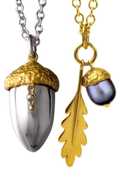 Amanda Cox Jewellery: Locket and pendant from Amanda's 'Oak Collection' in silver and gold vermeil with freshwater pearl. Stand 272. www.amandacoxjewellery.co.uk