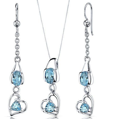 Heart Design 2.25 carats Sterling Silver with Rhodium Finish Swiss Blue Topaz Pendant Earrings Set Peora. $44.99