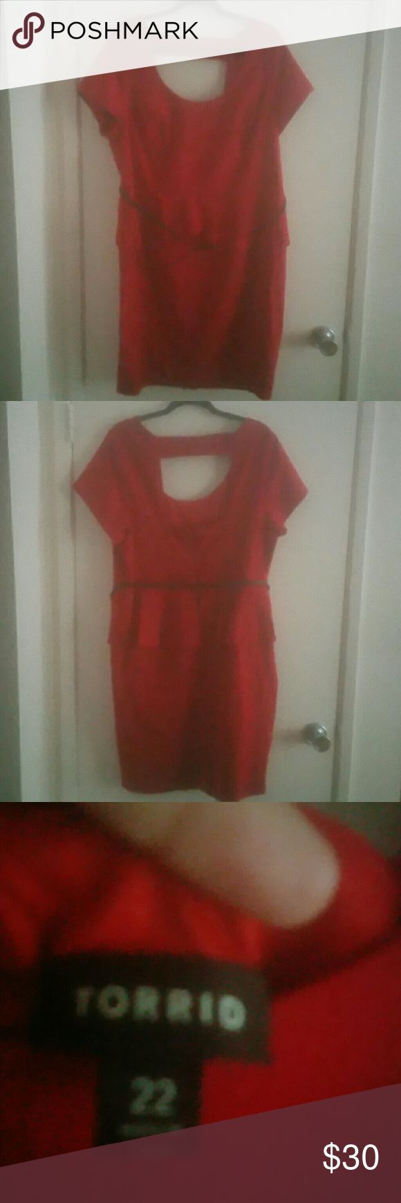 Torrid Red Retro Peplum Dress Size 22 Torrid retro red peplum dress. Peephole back. Very flattering. Excellent condition, only used once. Beautiful dress for the holidays. Comes down to approximately 3 inches above the knee. I'm 5 feet 10 inches tall. Torrid  Dresses Midi