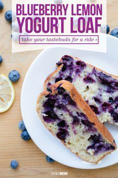 Blueberry Lemon Yogurt Loaf- Take your tastebuds on a ride with this tasty bread recipe filled with blueberries!