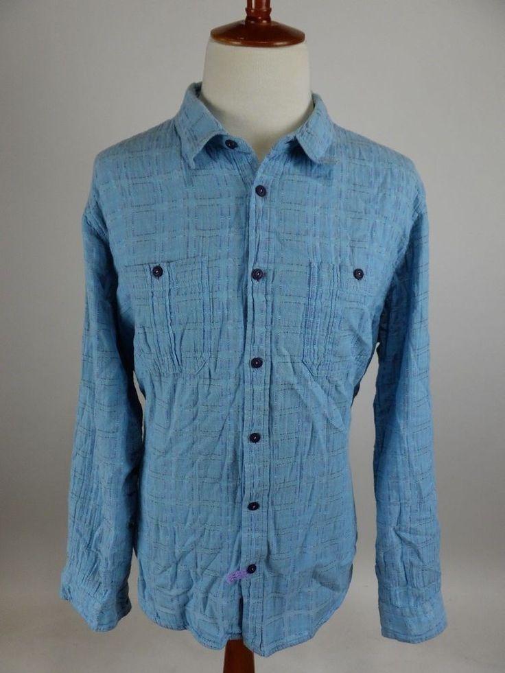 CARBON 2 COBALT Sea Change Light Flannel Long Sleeve Button Front Shirt Men  XL