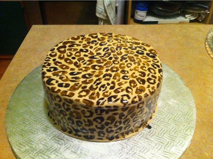 Leopard print birthday cake.