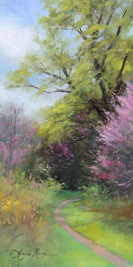 """""""Spring Trail"""" - 12x6 - oil on panel - SOLD. Oil painting by Anna Rose Bain"""