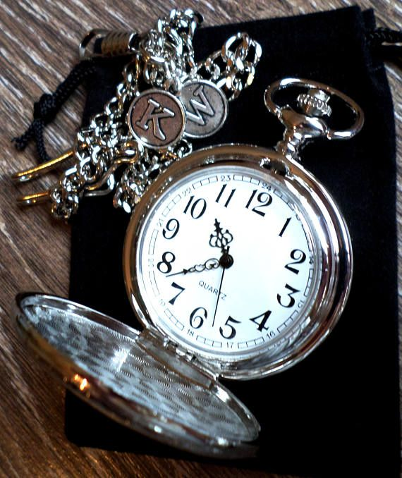 Silver Pocket Watch Personalized Pocket Watch with Watch Chain