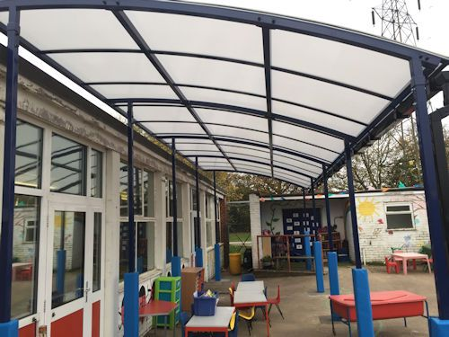 We installed two Devoke Junior Free Standing Canopies at Chartham Primary School. / : canopies uk - memphite.com