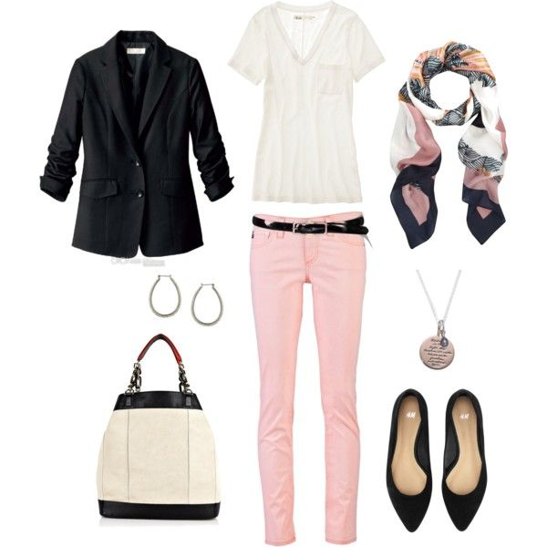 Pink, Black and White on #polyvore: Black White Pink Outfits, Colors Pants, Colors Combos, Black And White, Beautiful Women, Pink Pants, Casual Outfits, Pink Jeans, Pink Black