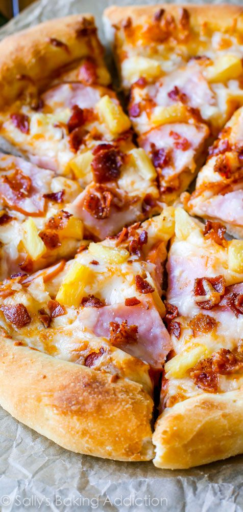 My favorite. Homemade Hawaiian Pizza on the crispiest, fluffiest pizza crust. Extra cheese, extra bacon. @sallybakeblog