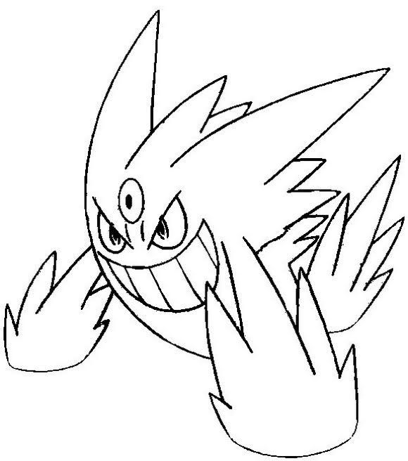 Mega Shiny Gengar Coloring Pages in 2020 | Pokemon ...