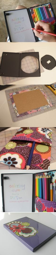 Recycle your old DVD cases into coloring cases. ( http://stacyvaughnblog.blogspot.ca/2012/04/dvd-coloring-case.html?spref=fb )