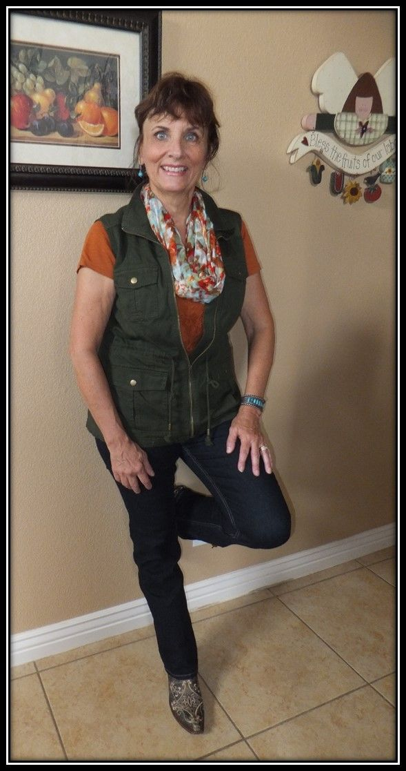 9/20/2015 Dressed up and nowhere to go.  Orange lace tee from Loft Outlet, Merona cargo vest from Target, Liverpool jeans online, Charming Charlie's scarf, Cavender's Coral Circle G cowGIRL boots.