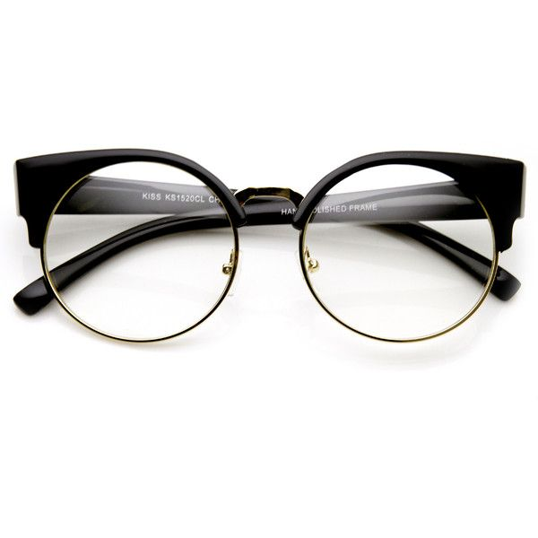 Indie Hipster Round Cat Eye Clear Lens Half Frame Glasses 9351 (£9.85) ❤ liked on Polyvore featuring accessories, eyewear, eyeglasses, glasses, sunglasses, round glasses, clear eyeglasses, clear hipster glasses, round cat eye glasses and round hipster glasses