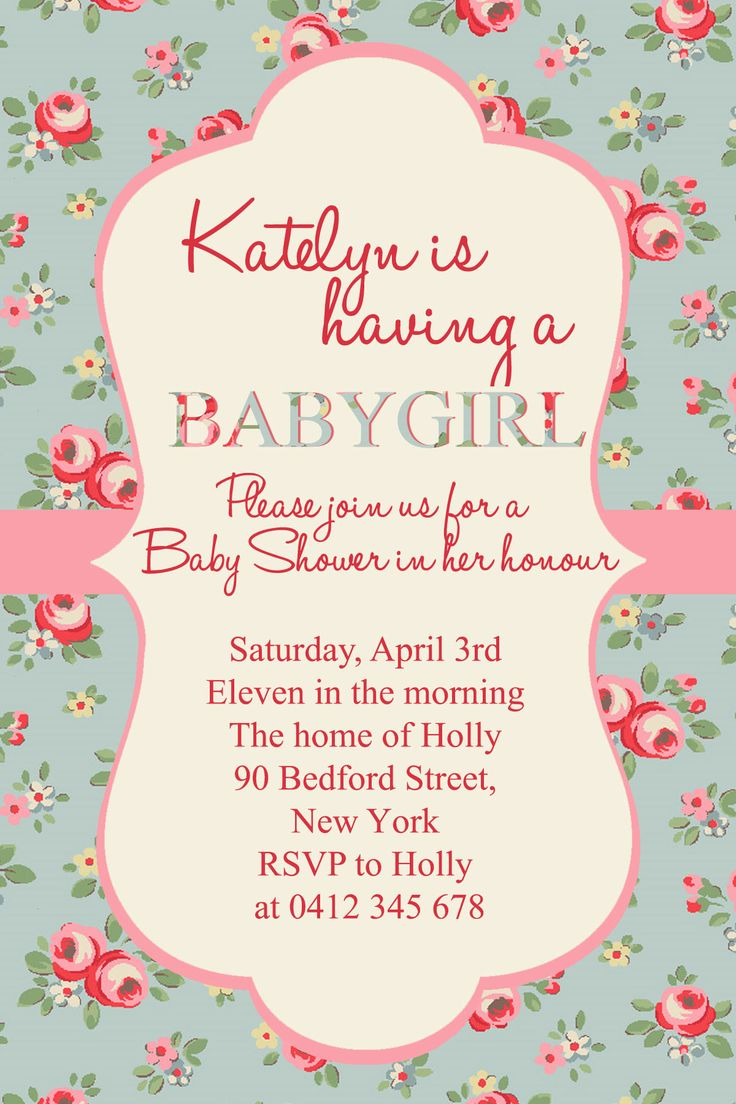 Girl Baby Shower. Fonts Used- Halo Hand Letter & Times New ...