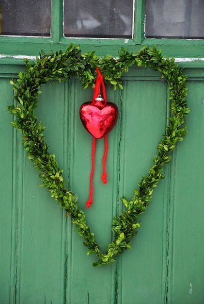 Green door box wood heart wreath with red heart ornament