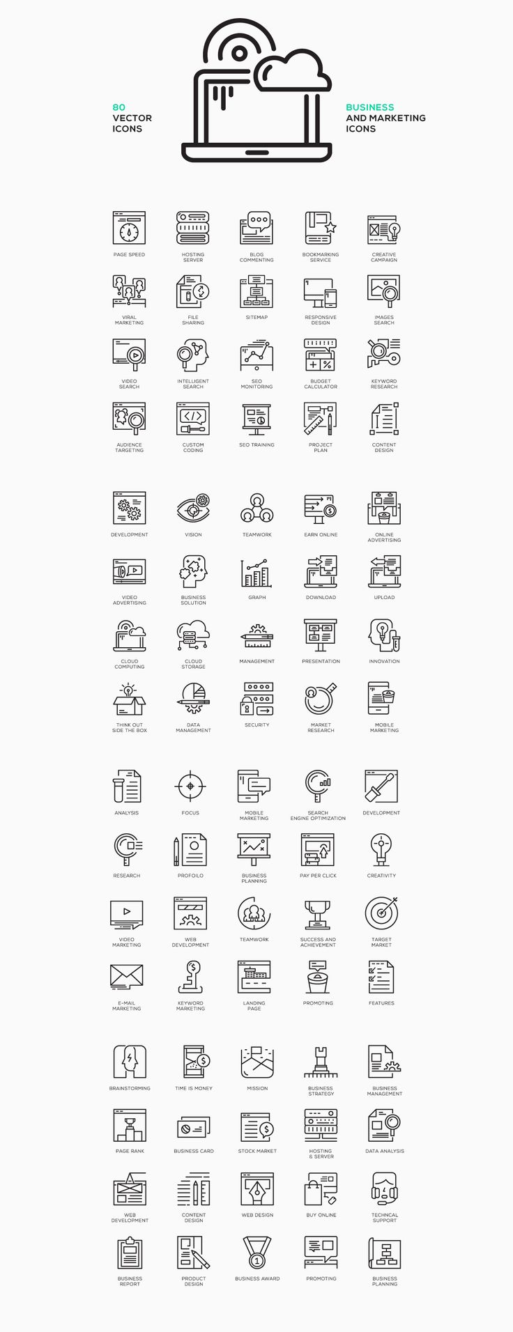 80 Business Concept Line Icons on Behance