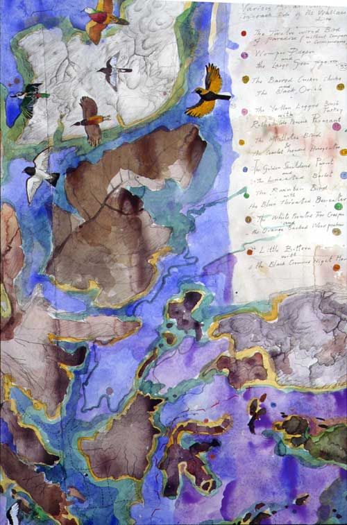 John Wolseley The territories of birds remembering Gondwana and Laurasia, 2001 (detail) watercolour on paper 76 × 263cm (Detail)