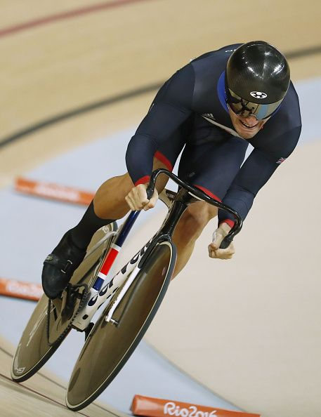 Britain's Callum Skinner competes in the men's Sprint qualifying track cycling…