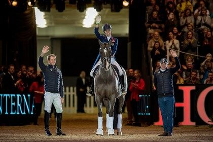 Carl, Charlotte, Valegro and groom Alan Davies at Olympia 2016. © FEI/Jon Stroud/ Recognised by Spanish Riding School-Hester and Charlotte