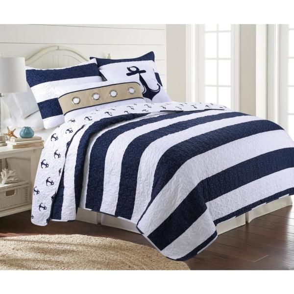 Unbranded Hallie 3 Piece Navy Twin Quilt Set 32865 The Home Depot In 2020 Nautical Bedding Sets Lake House Bed King Quilt Sets