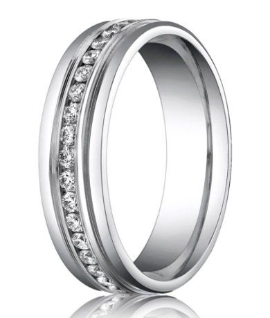 A diamond eternity ring with a truly timeless look, this palladium men's wedding band from Benchmark features 36 diamonds in rare white metal palladium. $1879.95