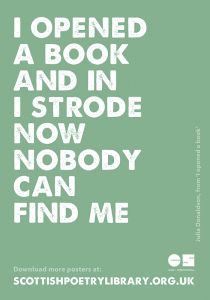 """Scottish Poetry Library poster - Julia Donaldson, from """"I opened a book""""."""