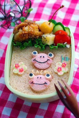カエルのデコサンド - てしぱんさんの簡単かわいいおべんとさん レシピブログ - 料理ブログのレシピ満載!