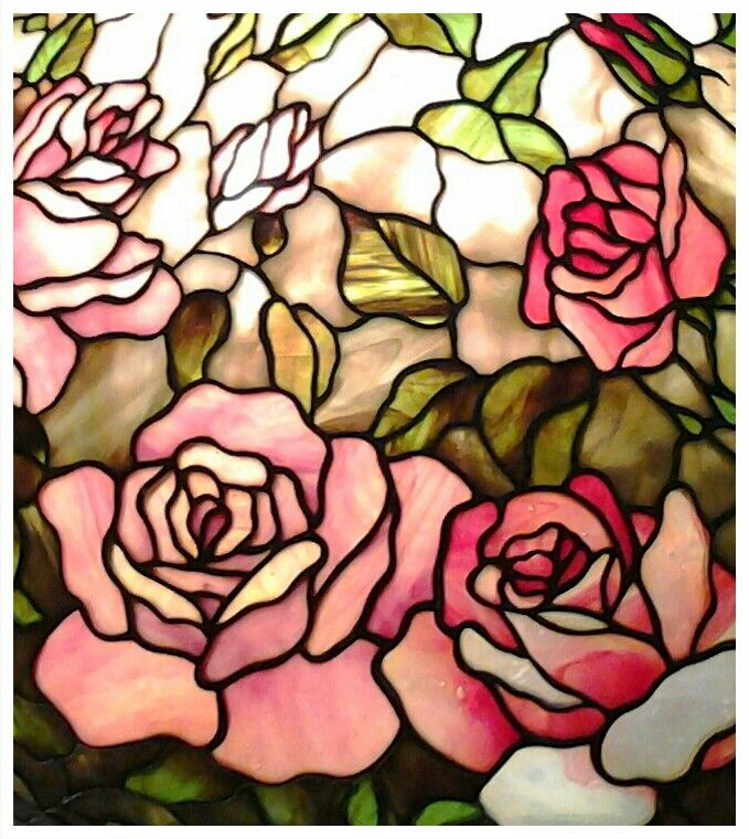 Stained glass rose lamp detail - Maresh #StainedGlassCake