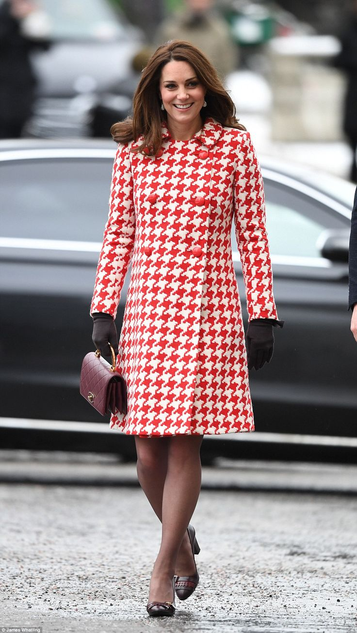 Maternity style:Duchess displayed her burgeoning bump in a red houndstooth coat by Cather...