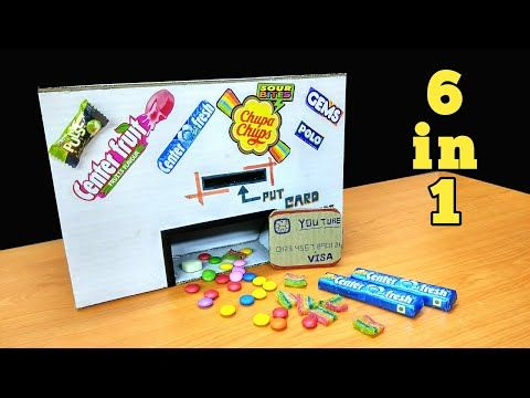 How to make a gum vending machine that gives 6 Chocolates in one push. How crazy na? You need: cardboard, chocolates, popsicle, bamboosticks, glu gun, glu and an ATM card. #cardboardcraft, #vendingmachine, #gums, #chocolates, #toys, #kidsvideos, #diyart, #diycraft  YouTube