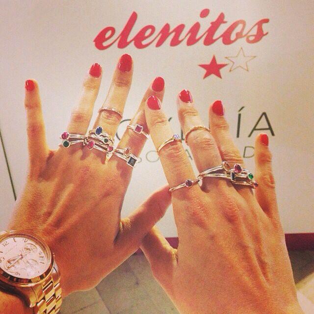 Anillos Elenitos, de plata con baño de oro rosa y amarillo, piedras preciosas no teñidas.  @crimenesmoda  En Zielo Shopping Pozuelo #Zielo