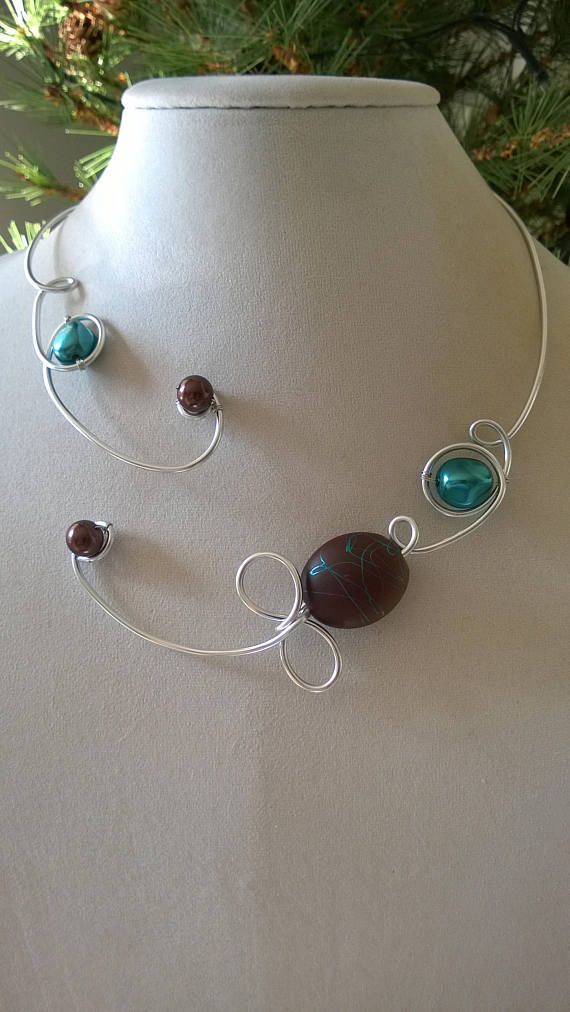 Turquoise and brown necklace Open collar necklace aluminium