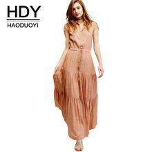 HDY Haoduoyi 2017 Женщин Летняя Мода С Коротким Рукавом Простой Одной Нижней Тонкий Шнурок Талии Твердые Плиссированные Dress(China (Mainland))