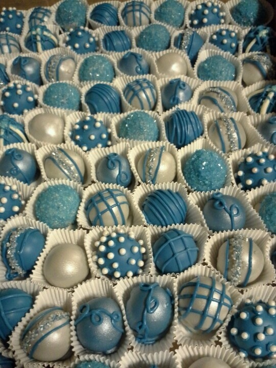 Blue and silver cake balls for a Cinderella party