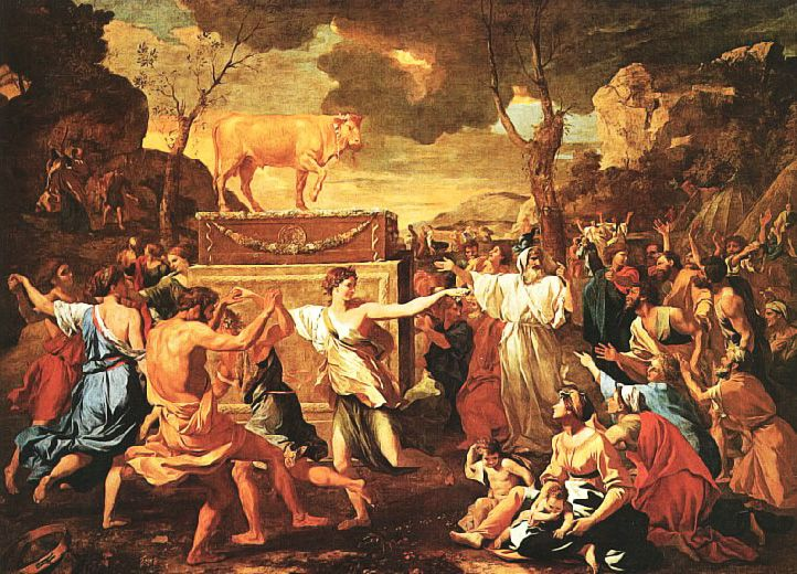 BECERRO DE ORO. En la Biblia, los israelitas, perdidos e inseguros, crean un falso dios al que venerar. Feuerbach afirma que todos los dioses han sido creados de esa misma manera. La teología (el estudio de Dios), no es más que antropología (el estudio de la humanidad). No solo nos hemos engañado pensando que existe un ser divino, sino que hemos olvidado lo que somos. NICOLAS POUSSIN. La Adoración del Becerro de Oro. 1634.