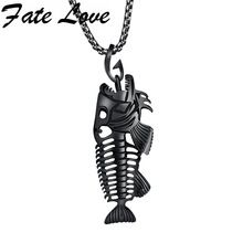 "Hollow White Black Golden Jewelry Unique Fish Bone Pendant 22""Necklace 316L Stainless Steel Punk Personality Pendant"
