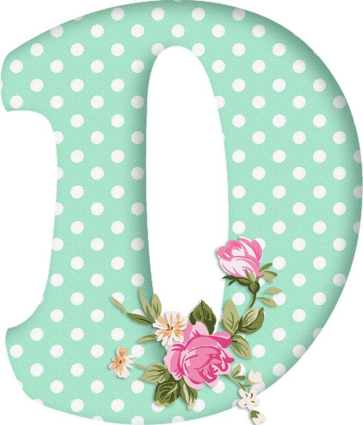 PAPIROLAS COLORIDAS: Abecedario con flores. Letras mayúsculas verdes, puntos blancos. Letra D.