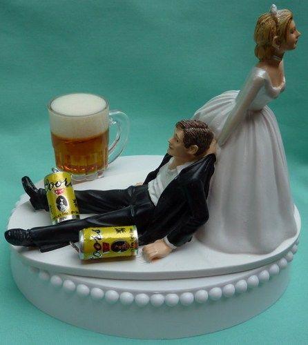 Coors Beer Drinking Drinker Groom Themed Wedding Cake Topper, Garter   WedSet - Wedding on ArtFire