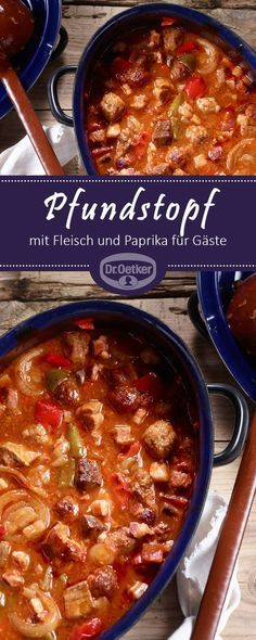 Pfundstopf: Eine Ofensuppe mit Fleisch und Paprika für Gäste