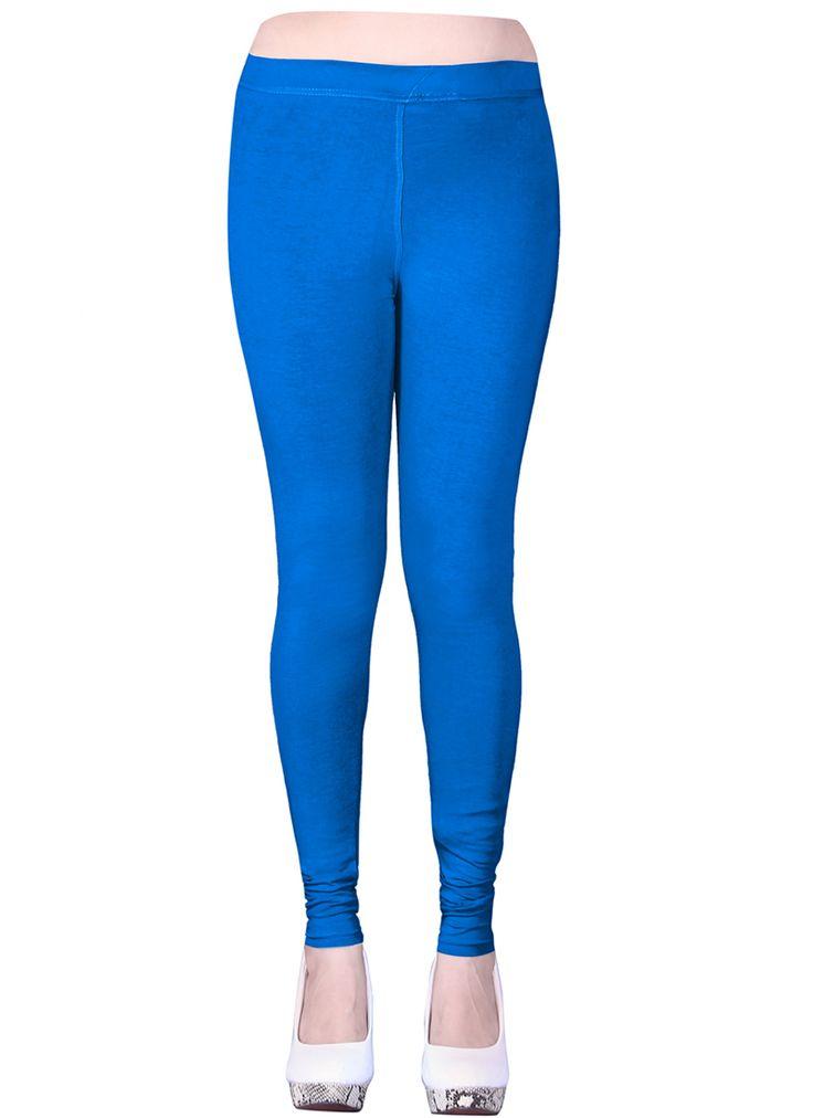 Blue Cotton Casual Wear Plain Leggins