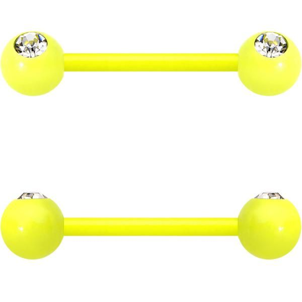 "14 Gauge 5/8"" Clear Gem Yellow Acrylic Over Steel Nipple Barbell Set"