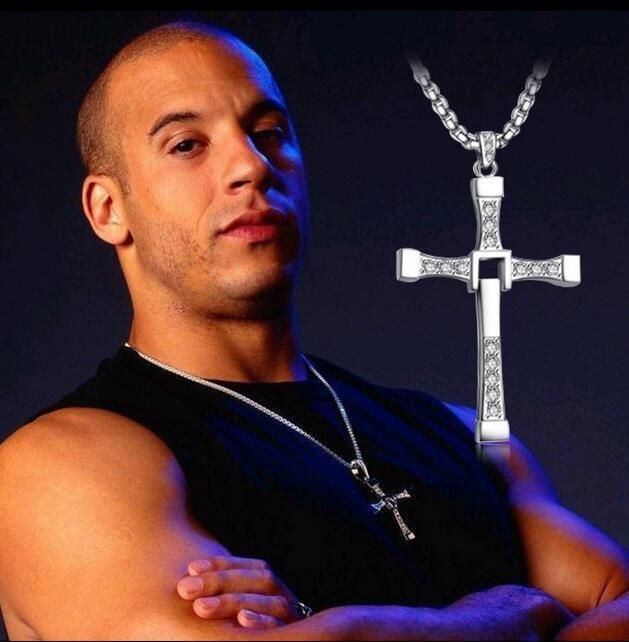 The Fast and the Furious Celebrity Vin Diesel Item Crystal Jesus Cross Pendant Necklace