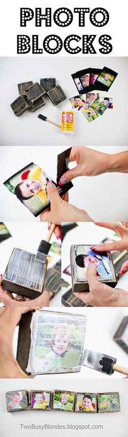 DIY PHOTO BLOCKS!! Fun, creative way to display photos. Mothers Day Gift ideas